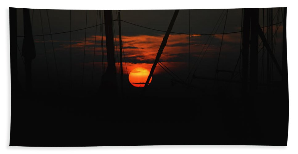 Backlit Hand Towel featuring the photograph Masts by Pete Federico