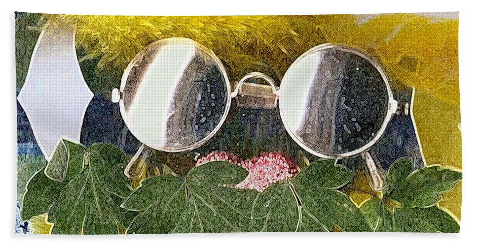 Acryl Bath Sheet featuring the mixed media Materials And Eyeglasses by Pepita Selles