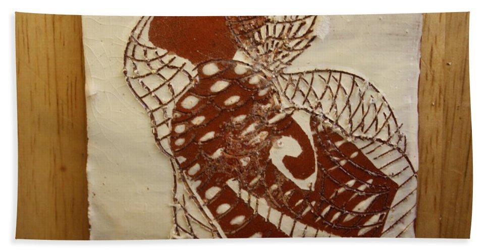 Jesus Hand Towel featuring the ceramic art Matildas Smile - Tile by Gloria Ssali