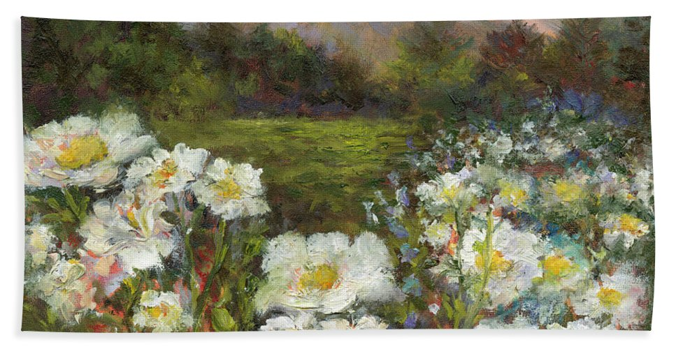 Landscape Bath Sheet featuring the painting Matilija Poppies by Carolyn Paterson