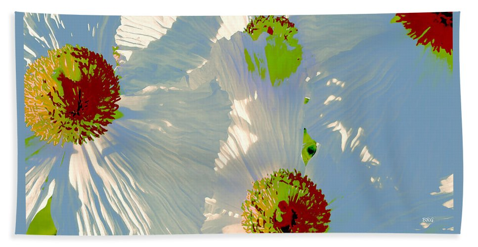 Floral Abstract Bath Towel featuring the photograph Matilija Poppies Pop Art by Ben and Raisa Gertsberg