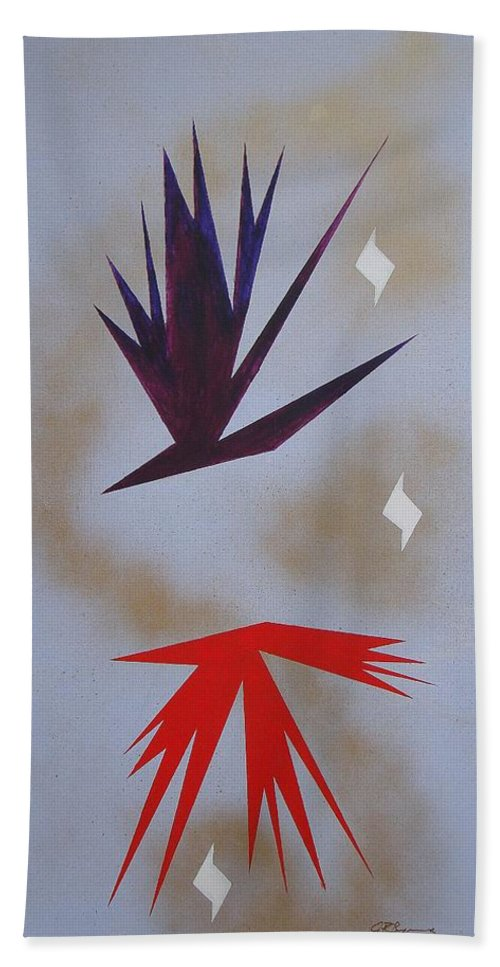 Birds Hand Towel featuring the painting Mating Ritual by J R Seymour