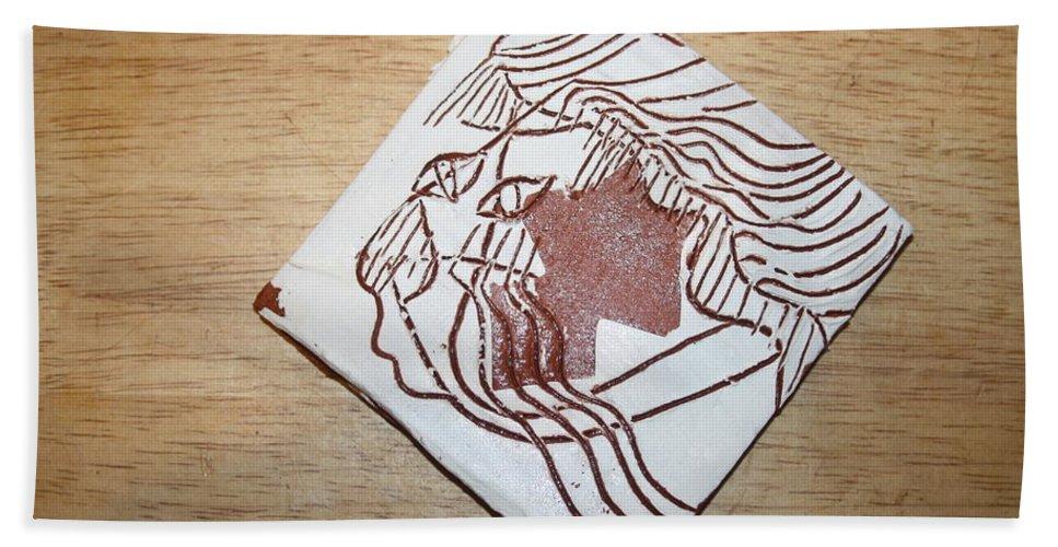 Jesus Hand Towel featuring the ceramic art Matt - Tile by Gloria Ssali