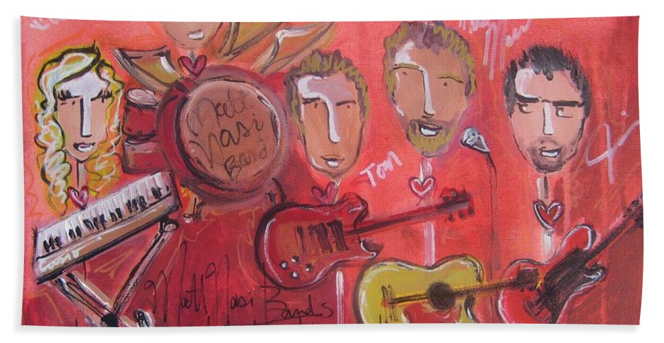Red Bath Sheet featuring the painting Matt Nasi Band by Laurie Maves ART