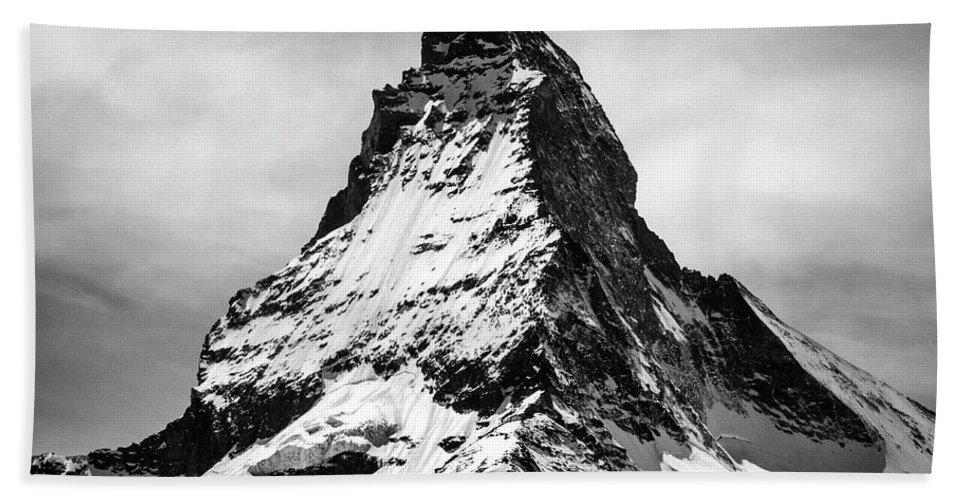 Matterhorn art bath towel featuring the photograph matterhorn art prints black and white photography by
