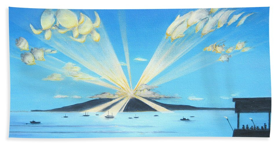 Maui Hand Towel featuring the painting Maui Magic by Jerome Stumphauzer