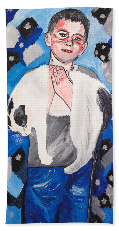 Portrait Hand Towel featuring the painting Max Holding Snowflake by Valerie Ornstein