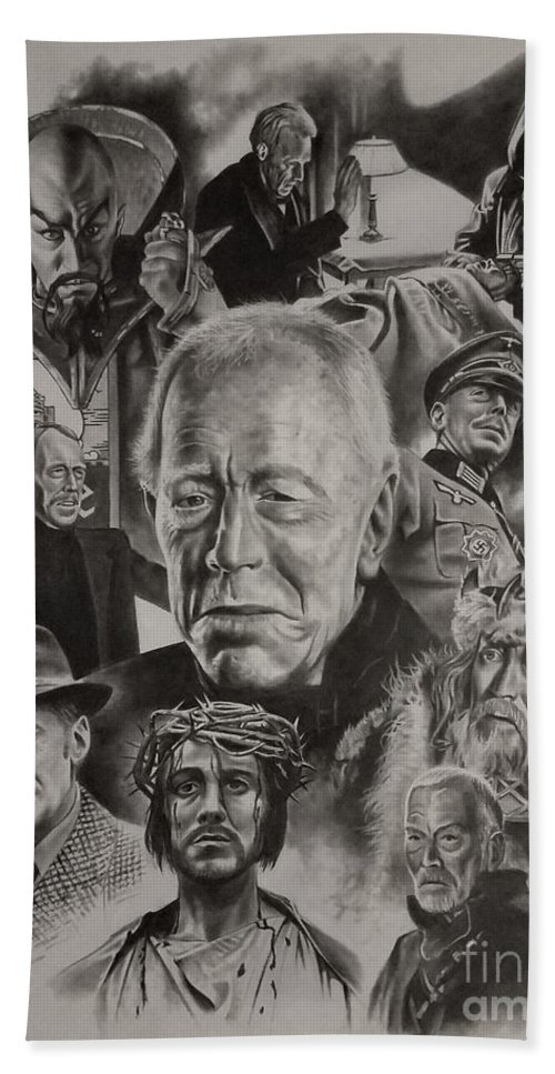 Max Von Sydow Hand Towel featuring the drawing Max Von Sydow by James Rodgers