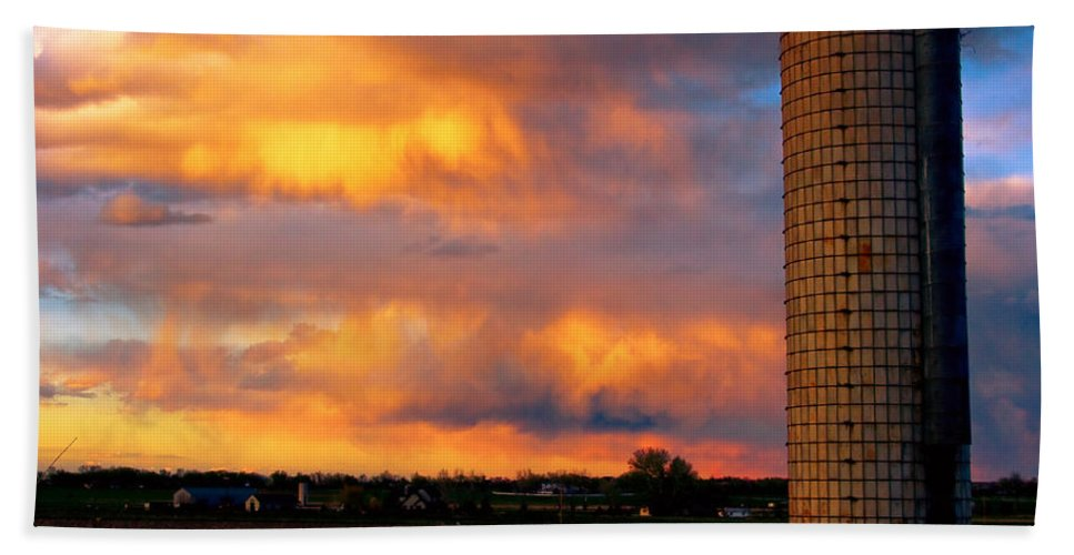 Sunset Bath Sheet featuring the photograph May Day Silo Sunset by James BO Insogna