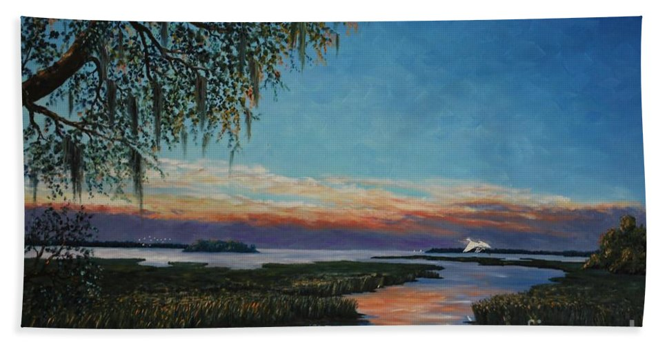Sunset Bath Sheet featuring the painting May River Sunset by Stanton Allaben