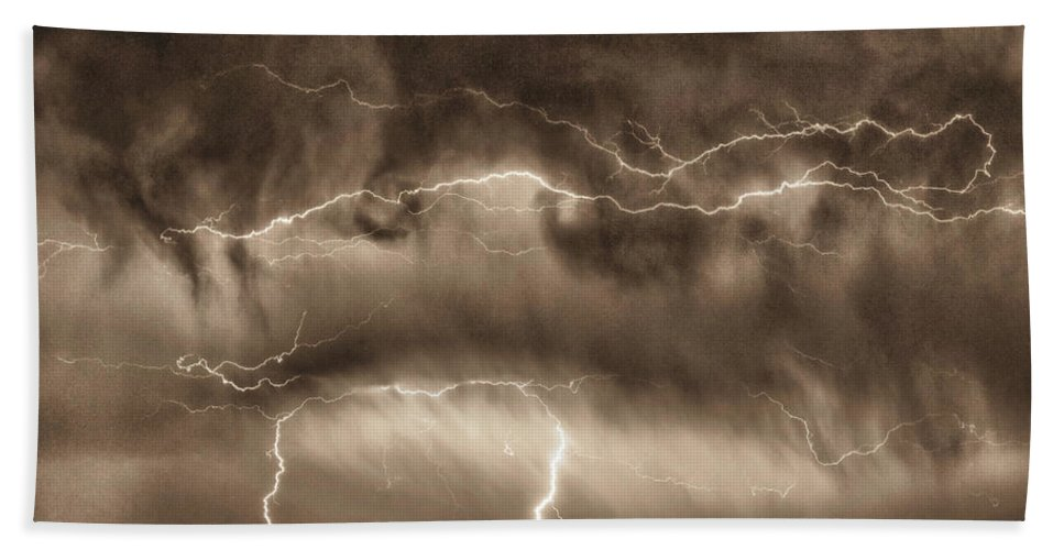 Hdr Hand Towel featuring the photograph May Showers - Lightning Thunderstorm Sepia Hdr by James BO Insogna