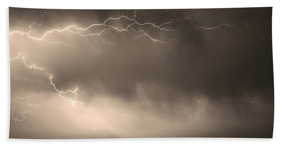 Bo Insogna Hand Towel featuring the photograph May Showers 2 In Sepia - Lightning Thunderstorm 5-10-2011  by James BO Insogna