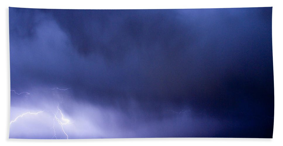 Bo Insogna Hand Towel featuring the photograph May Showers 3 In Color - Lightning Thunderstorm 5-10-2011 Boulde by James BO Insogna