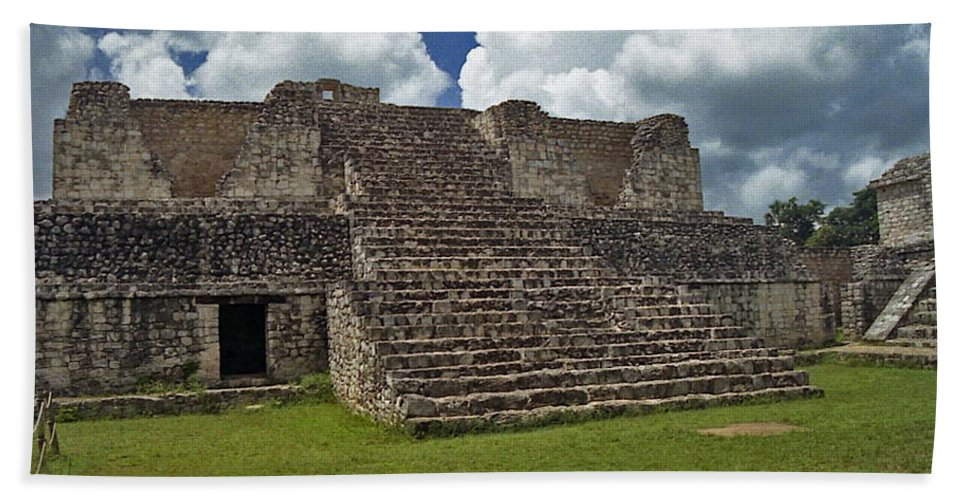 Mayan Hand Towel featuring the photograph Mayan Ruins 2 by Michael Peychich