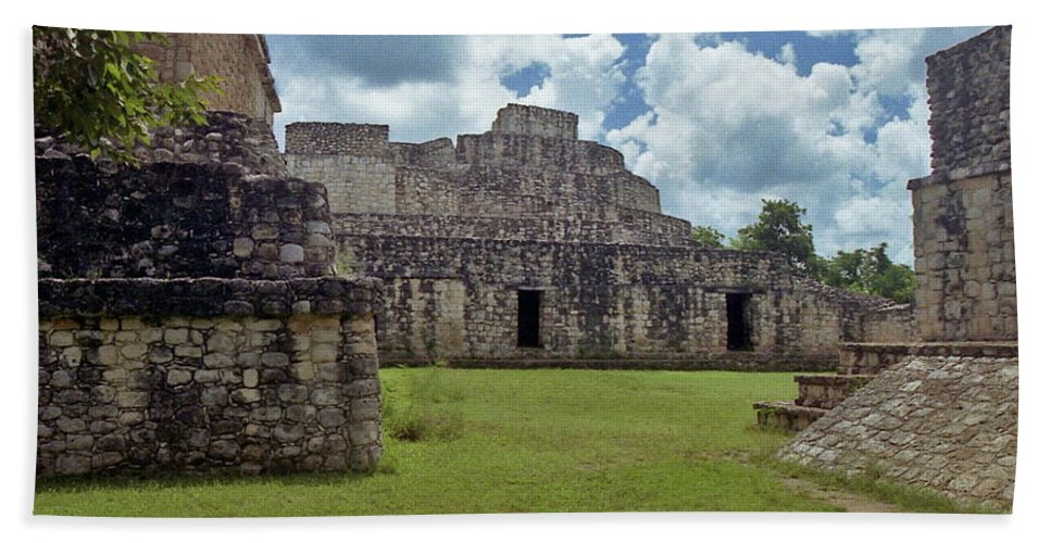 Mayan Hand Towel featuring the photograph Mayan Ruins 3 by Michael Peychich