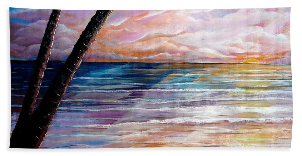 Unframed Stretched Canvas Hand Towel featuring the painting Mayaro Dawn by Karin Dawn Kelshall- Best