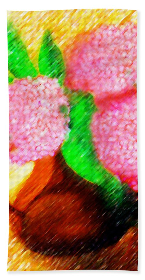 Pinturas Hortensias Hand Towel featuring the painting Maybe Hydrangeas by Madalena Lobao-Tello