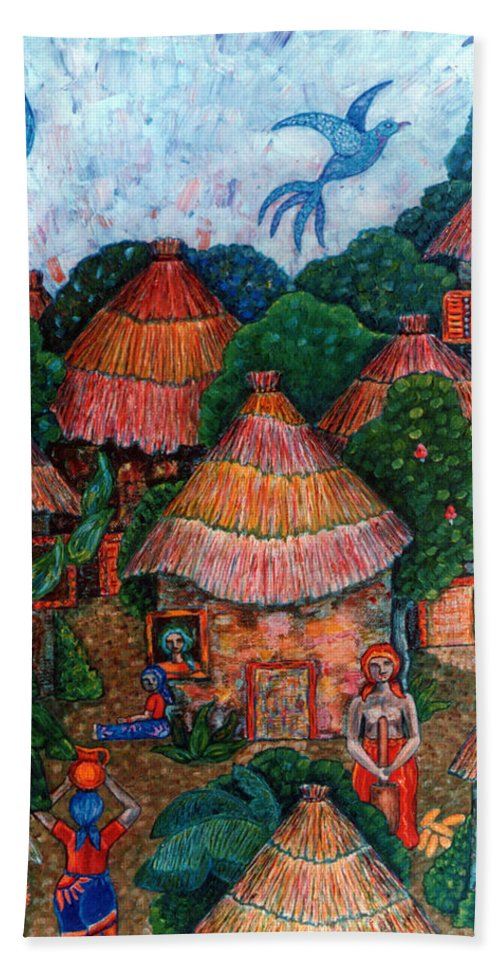 Africa Bath Towel featuring the painting Maybe That Was My Country by Madalena Lobao-Tello
