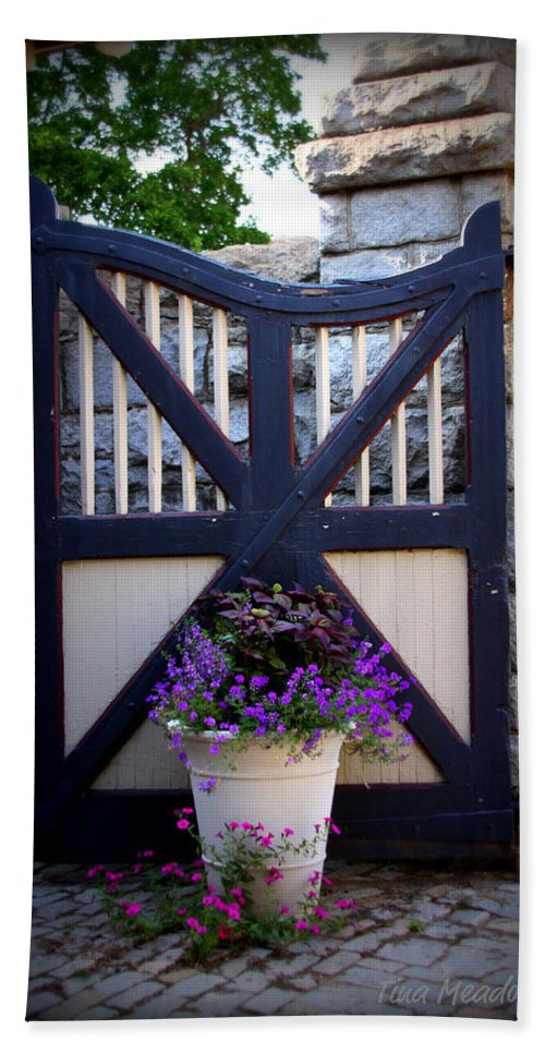 Maymont Hand Towel featuring the photograph Maymont Gate by Tina Meador