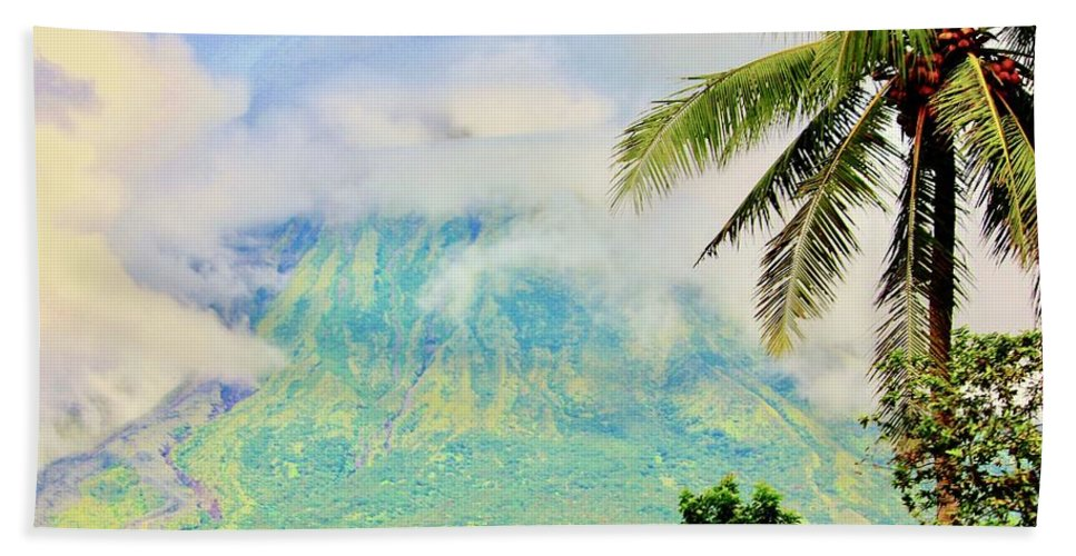 Nature Hand Towel featuring the photograph Mayon Volcano by Lorna Maza