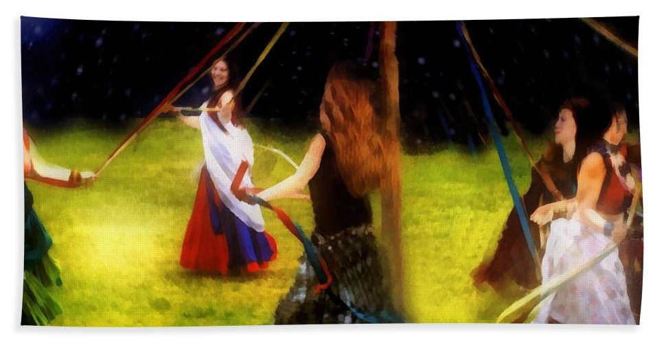 Beltane Bath Sheet featuring the painting Maypole Moon by RC DeWinter
