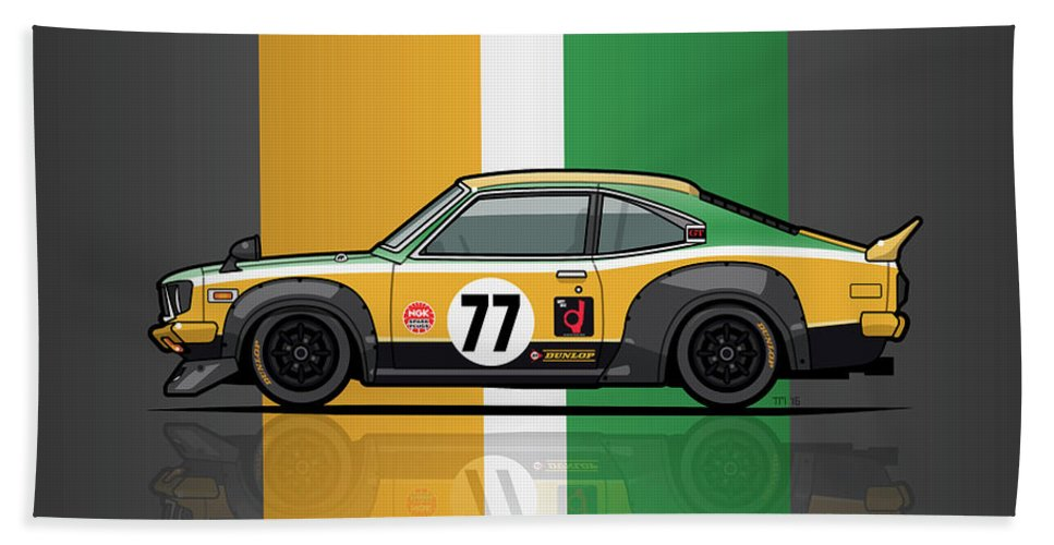 Car Bath Towel featuring the digital art Mazda Savanna Gt Rx3 Racing Yoshimi Katayama 1975 by Monkey Crisis On Mars