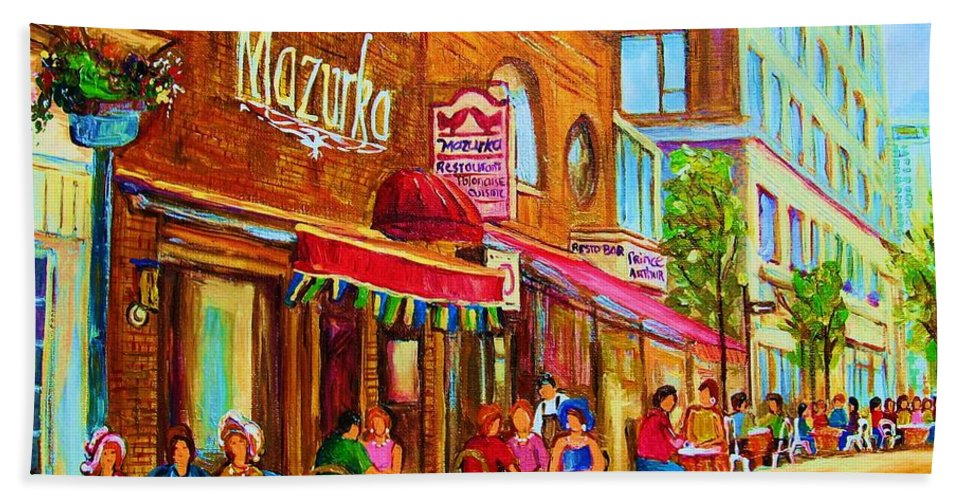 Montreal Streetscene Bath Towel featuring the painting Mazurka Cafe by Carole Spandau