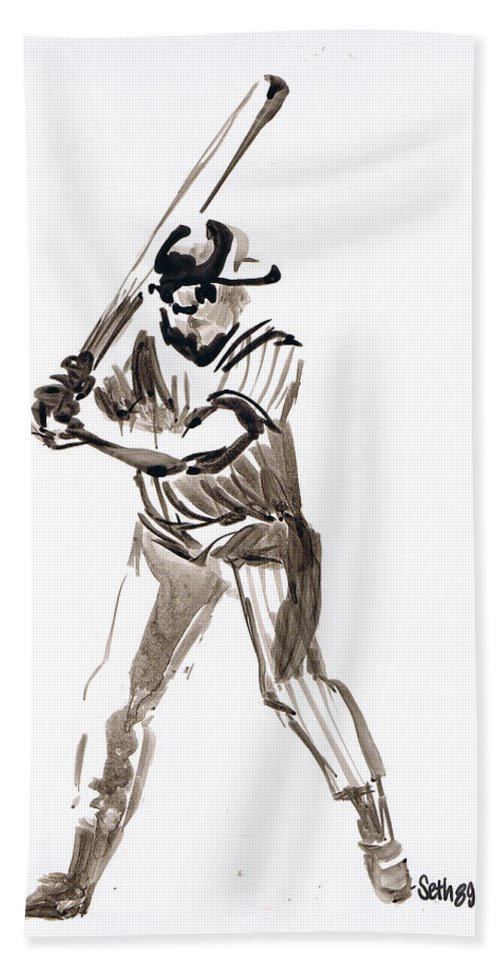 Mbl Batter Up Bath Sheet featuring the drawing Mbl Batter Up by Seth Weaver