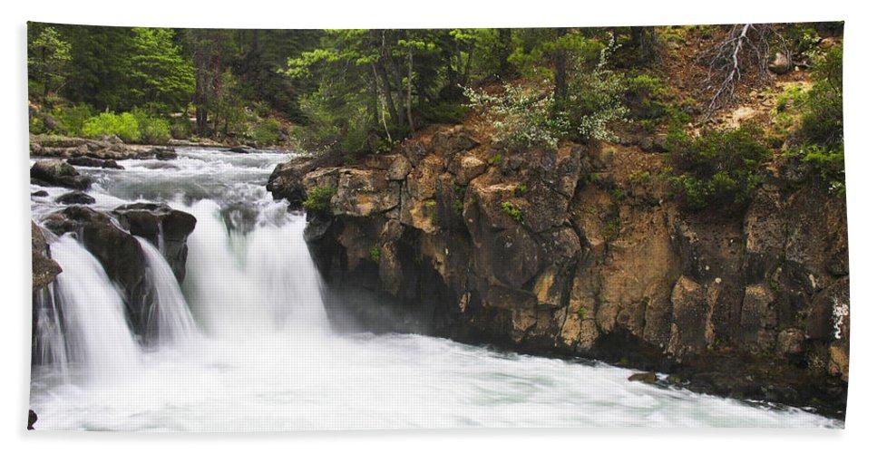 Landscape Bath Towel featuring the photograph Mccloud Lowerfalls by Karen W Meyer
