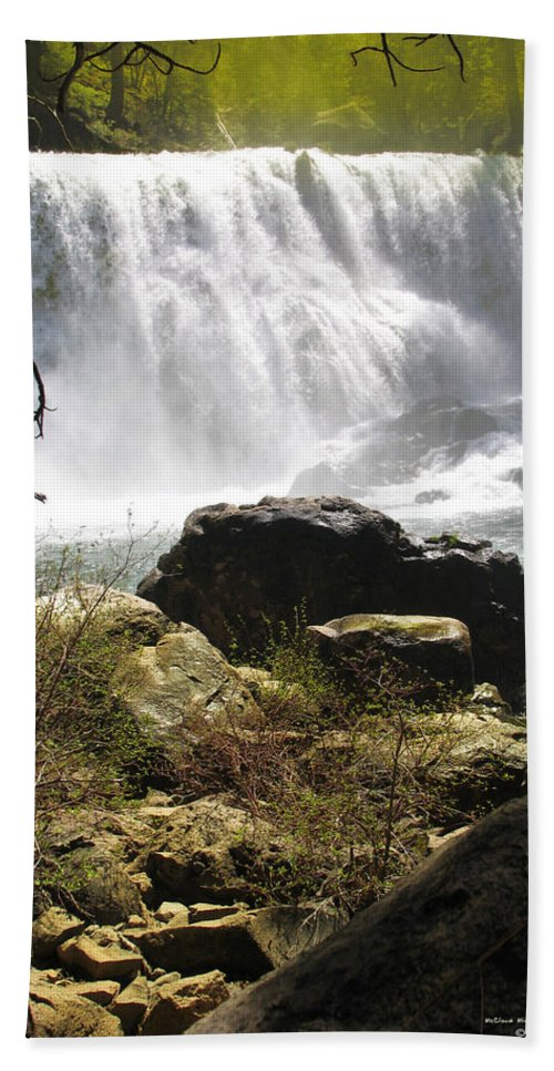 Landscape Bath Towel featuring the photograph Mccloud Middle Falls by Karen W Meyer