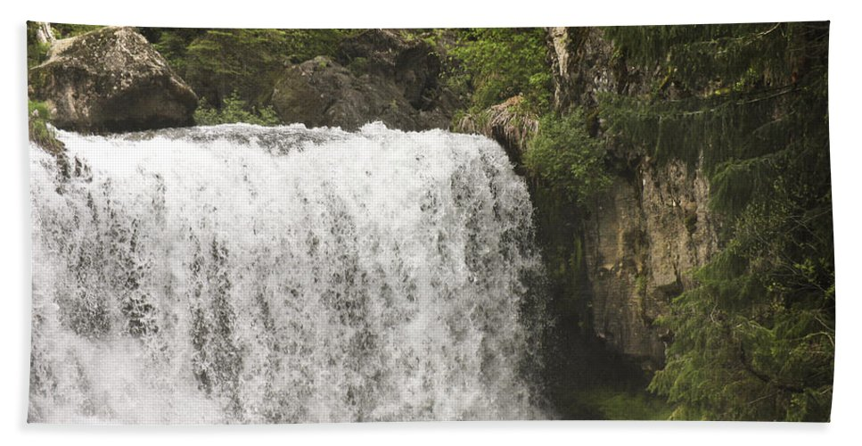 Waterfalls Bath Towel featuring the photograph Mccloud Upper Falls by Karen W Meyer