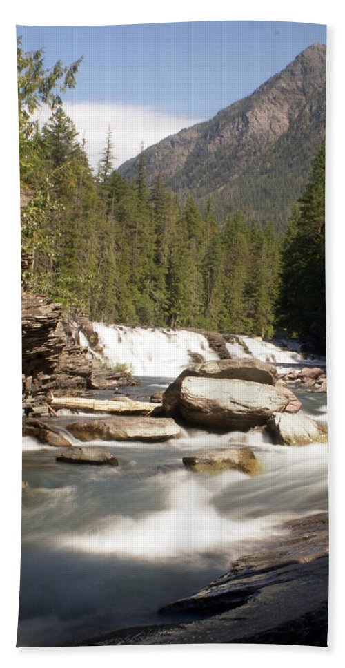 Stream Hand Towel featuring the photograph Mcdonald Creek by Marty Koch