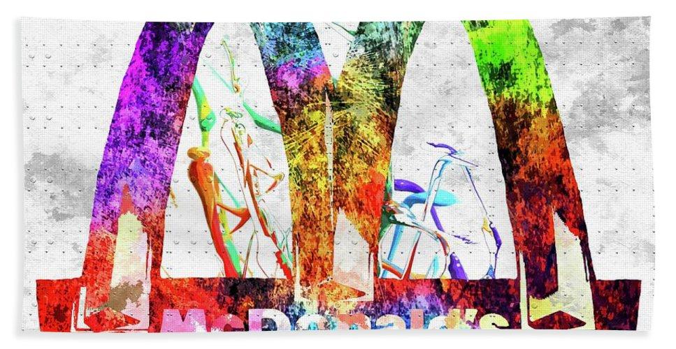 Mcdonald´s Bath Sheet featuring the mixed media Mcdonalds by Daniel Janda