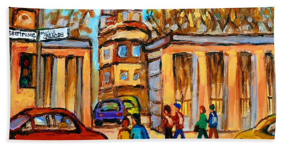 Montreal Cityscapes Bath Towel featuring the painting Mcgill Roddick Gates by Carole Spandau