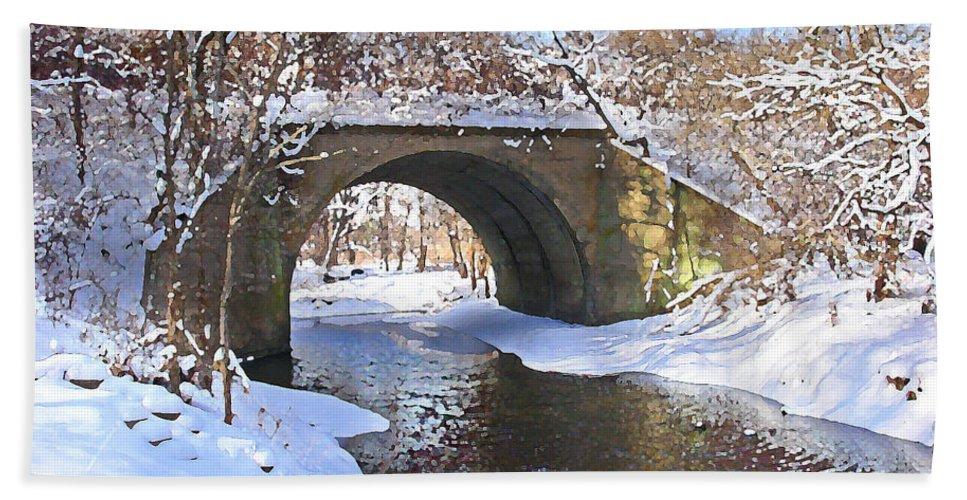 Landscape Hand Towel featuring the digital art Mcgowan Bridge by Steve Karol