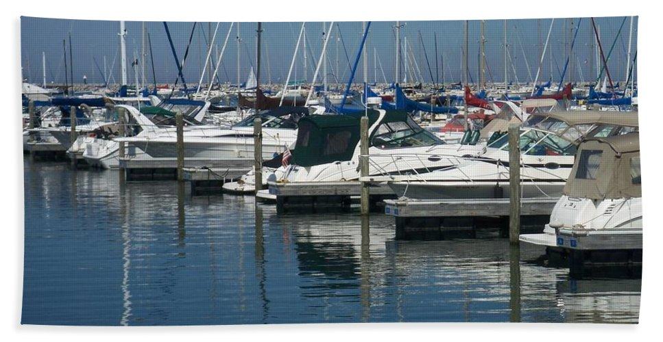 Mckinley Marina Bath Sheet featuring the photograph Mckinley Marina 2 by Anita Burgermeister