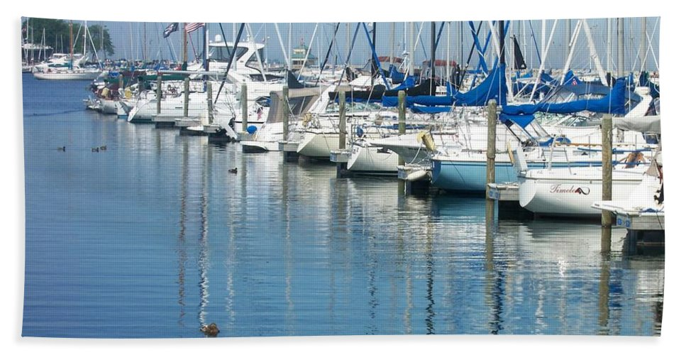 Mckinley Marina Hand Towel featuring the photograph Mckinley Marina 3 by Anita Burgermeister