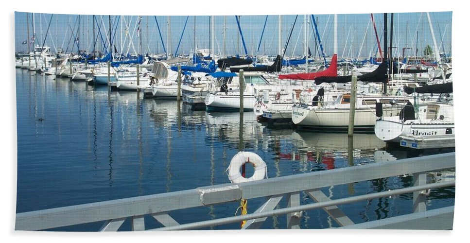 Mckinley Marina Hand Towel featuring the photograph Mckinley Marina 4 by Anita Burgermeister