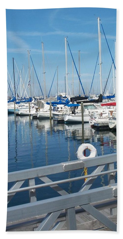 Mckinley Marina Hand Towel featuring the photograph Mckinley Marina 5 by Anita Burgermeister
