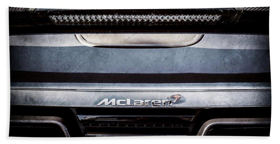 Mclaren 12c Spider Rear Emblem Hand Towel featuring the photograph Mclaren 12c Spider Rear Emblem -0106ac by Jill Reger