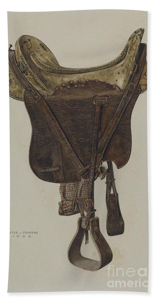 Hand Towel featuring the drawing Mclellan Saddle by Walter Praefke