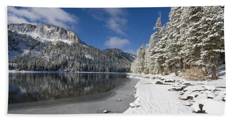 Snow Bath Sheet featuring the photograph Mcleod Lake by Kelley King