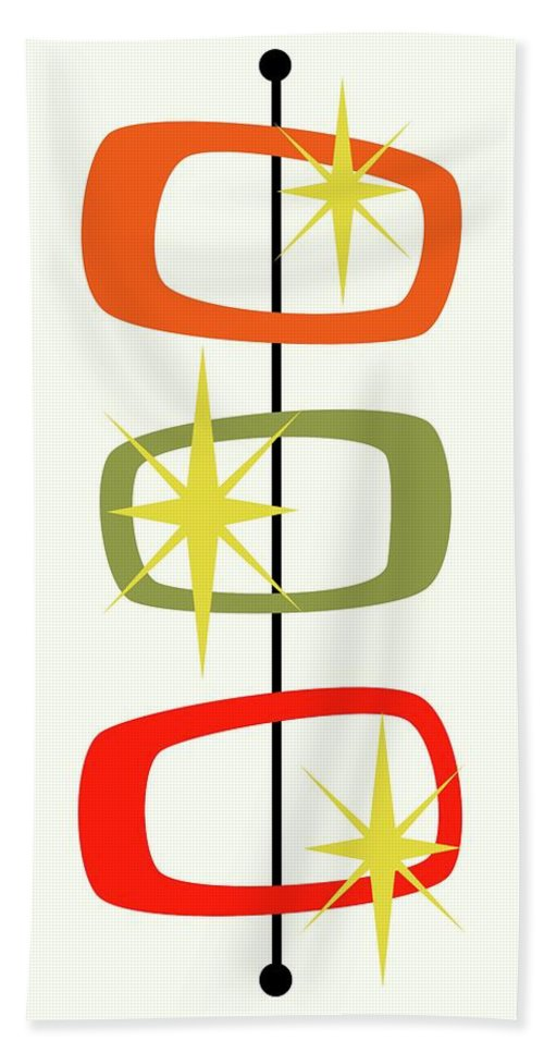 Mid Century Modern Bath Towel featuring the digital art Mcm Shapes 1 by Donna Mibus