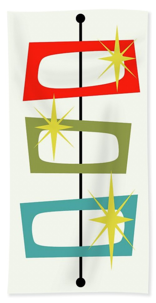 Mid Century Modern Bath Towel featuring the digital art Mcm Shapes 3 by Donna Mibus