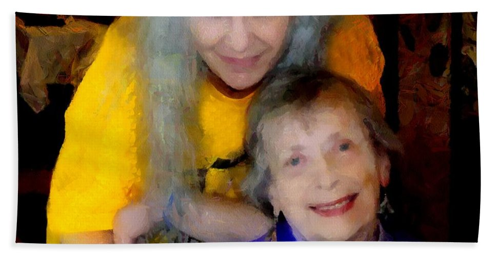 Colorful Hand Towel featuring the painting Me And B by RC DeWinter
