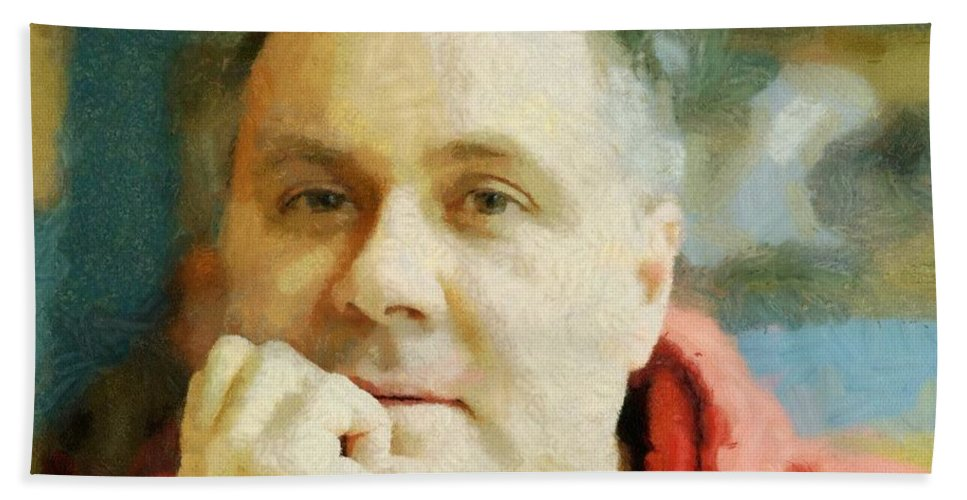 Self Portrait Hand Towel featuring the painting Me by Jeffrey Kolker