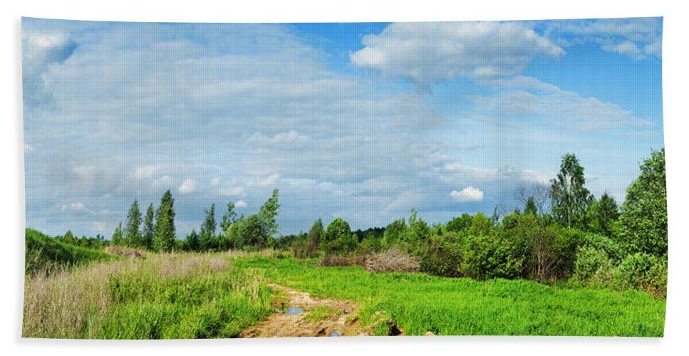 Sun Hand Towel featuring the photograph Meadow Road by Vadzim Kandratsenkau