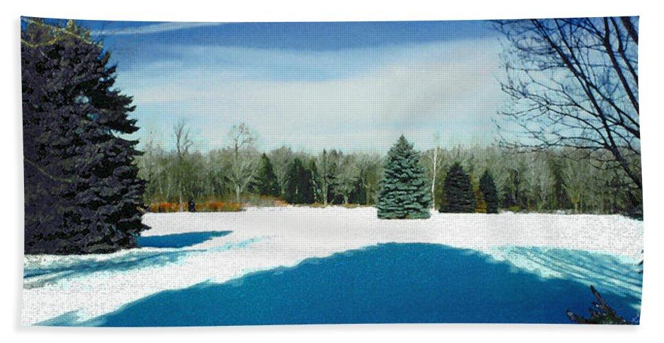 Landscape Bath Sheet featuring the photograph Meadow Snow by Steve Karol