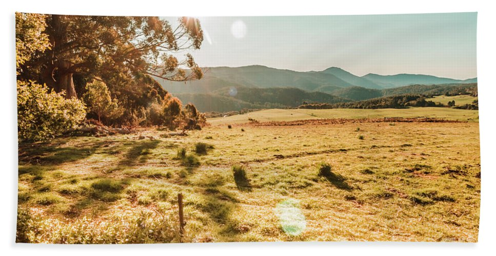 Landscape Hand Towel featuring the photograph Meadows And Mountains by Jorgo Photography - Wall Art Gallery