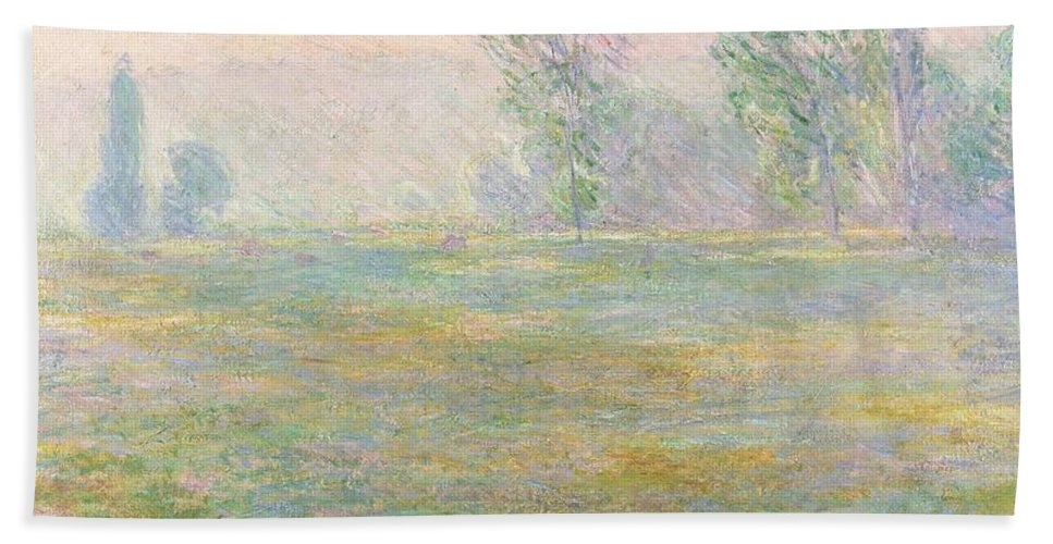 Meadows In Giverny Bath Sheet featuring the painting Meadows In Giverny by Claude Monet